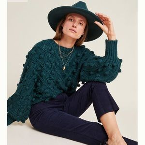 Anthropologie Navy Cropped Flair Corduroy Trousers